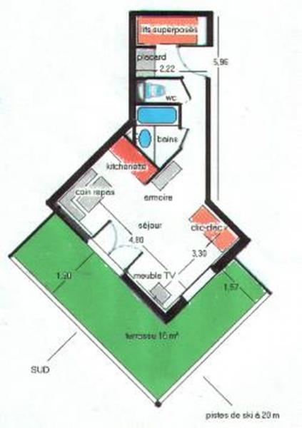 Map of property Location One-room apartment 1577 Molines Saint-Véran