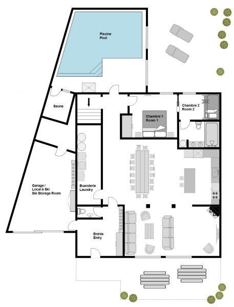 Map of property Location Chalet 117369 Les 2 Alpes