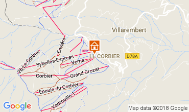 Map Le Corbier One-room apartment 1054