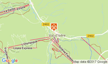 Map Val d'Isère One-room apartment 38836