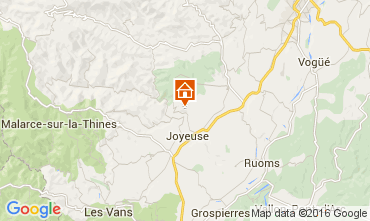 Map Joyeuse Vacation rental 90730